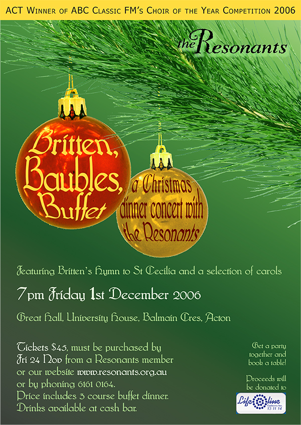 Britten, baubles, buffet